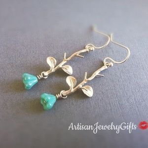 Handmade - ArtisanJewelryGifts Jewelry - Tiny Turquoise Bell Flower Silver Branch Earrings